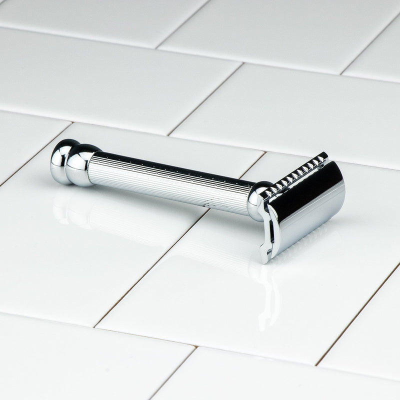 Merkur Double Edge Safety Razor, Long, Engine-Turned Handle 47C