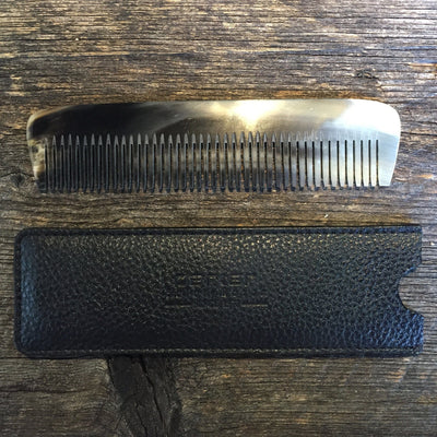 Howi Inc Dual Tooth Ox Horn Hair Comb w/ Leather Sheath
