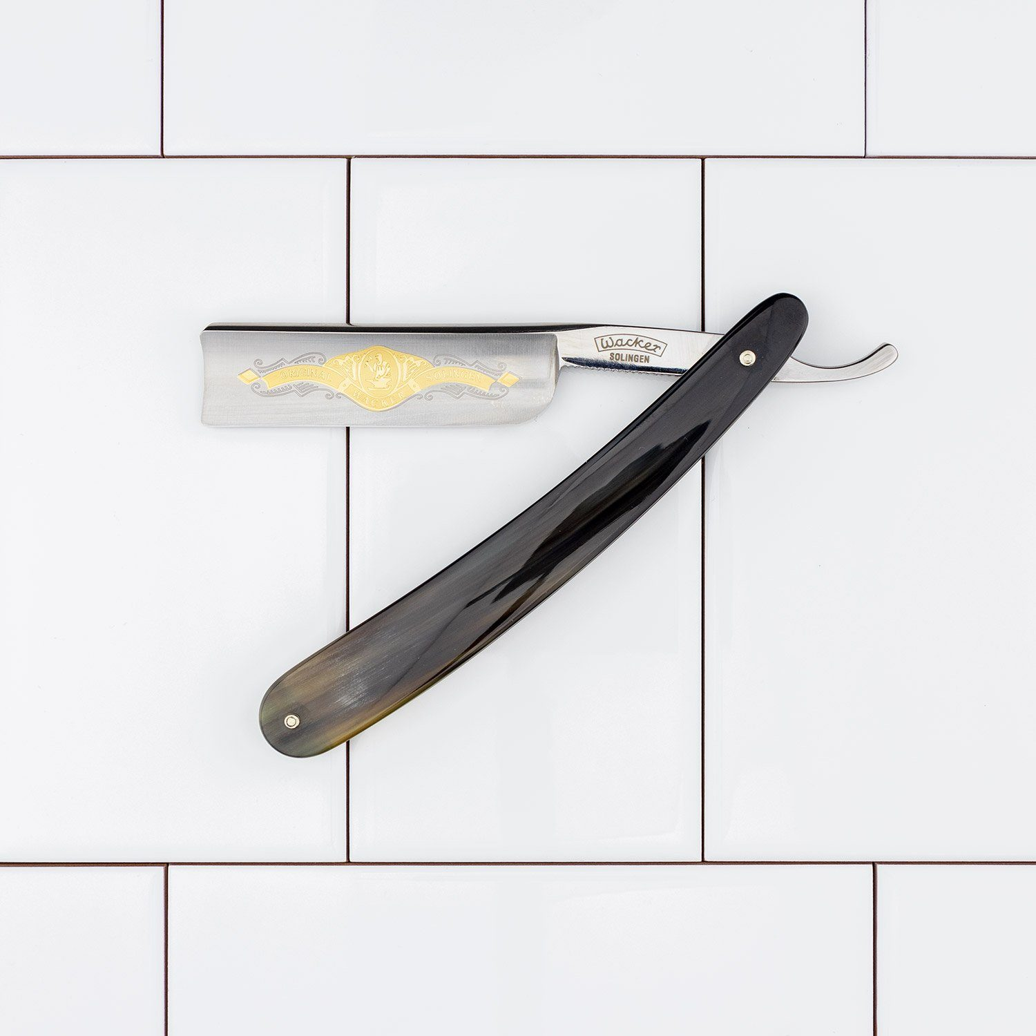 "Wacker ""All-Round"" Straight Razor w/ Spanish Point, Buffalo Horn Scales, 7/8"""