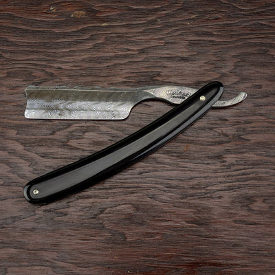 Wacker Torsion Damascus Straight Razor w/ Spanish Point, Black Horn Scales, 6/8""