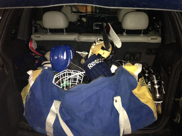 messy hockey bag
