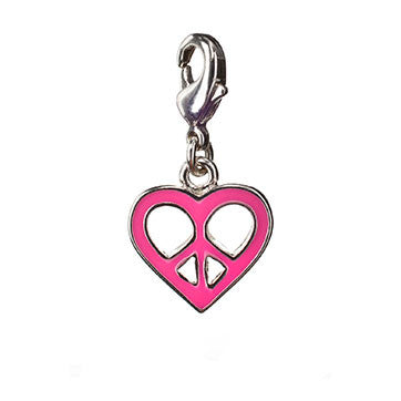 Girls Peace Sign Heart Charm