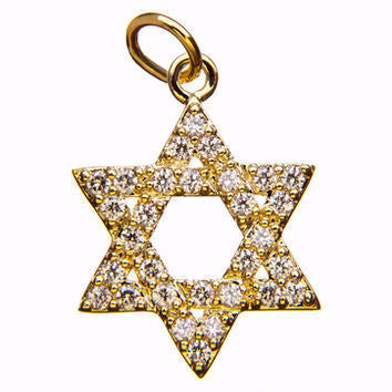 Pave Gold Star of David