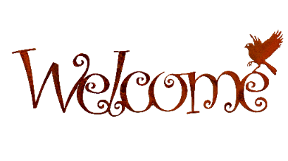 "WE602 | ""Welcome"" Script Wall Art - Elegant Garden Design"