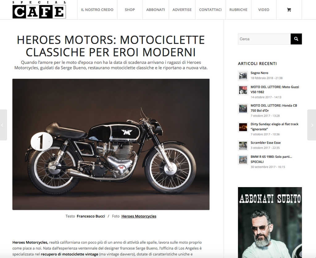HEROES MOTORS ON SPECIAL CAFE ITALIA