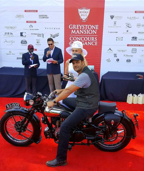 """BEST VINTAGE MOTORCYCLE"" AWARD, GREYSTONE MANSION CONCOURS D'ELEGANCE"