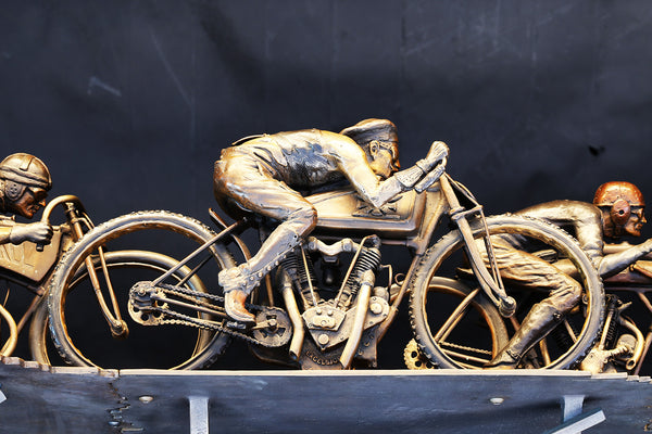 Neck And Neck With Death, Jeff Decker Bronze - Heroes Motorcycles