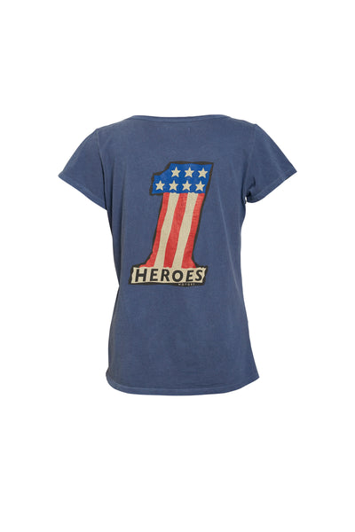 "Tee-shirt  ""Number One"" Blue - Heroes Motorcycles"