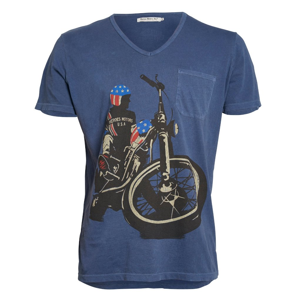 "Tee-SHIRT ""Easy R"" Blue - Heroes Motorcycles"