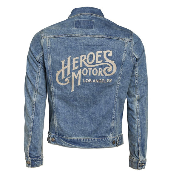 Embroidered denim jacket - Heroes Motorcycles
