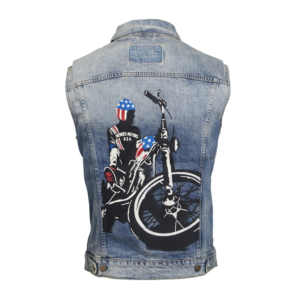 "Denim Vest ""Captain America"" - Heroes Motorcycles"