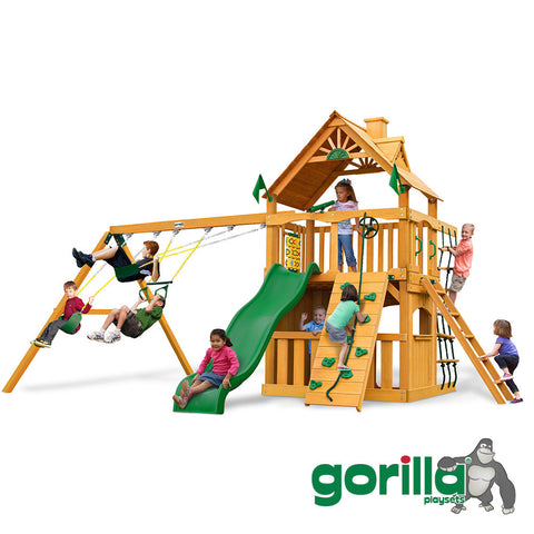 Gorilla Playsets Cedar Swingset and Clubhouse - Chateau II Clubhouse