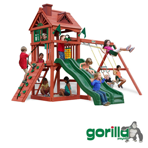 Gorilla Playsets Cedar Playhouse and Swing Set - Double Down