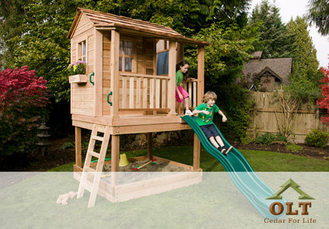 Outdoor Living Today Little Cedar Playhouse with Functional Windows, Window Screens, Dutch Door, and Sandbox - 6x6 - Slide Not Included