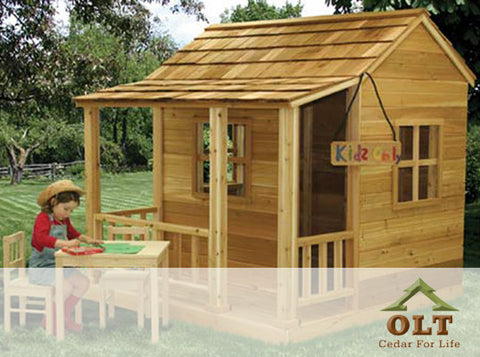 Outdoor Living Today Little Cedar Playhouse with Functional Windows, Window Screens, and Dutch Door - 6x6