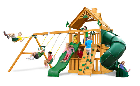 Gorilla Playsets Cedar Swing Set and Playhouse - Mountaineer Clubhouse