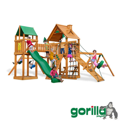 Gorilla	 Playsets Cedar Swing Set and Playhouse - Pioneer Peak