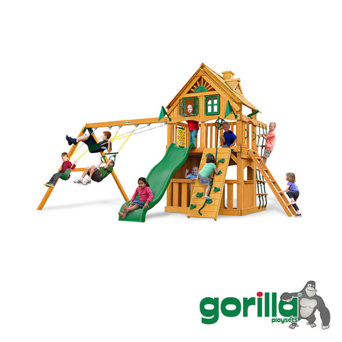 Gorilla Playsets Cedar Swing Set and Playhouse - Chateau Clubhouse Treehouse