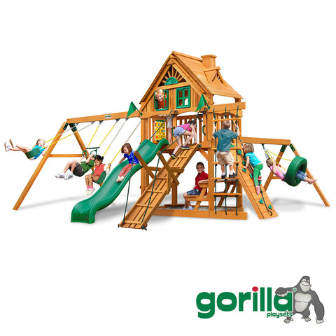 Gorilla Playsets Cedar Swing Set and Playhouse - Frontier Treehouse