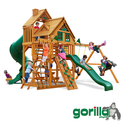 Gorilla Playsets Cedar Swing Set and Playhouse - Great Skye I Treehouse
