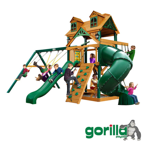 Gorilla Playsets Cedar Swing Set and Playhouse - Malibu Extreme