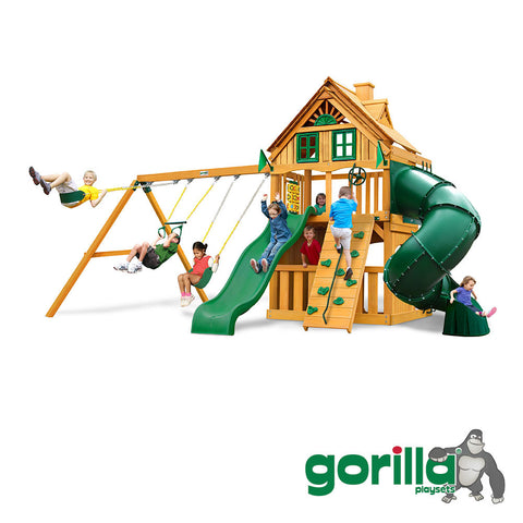 Gorilla Playsets Cedar Swing Set and Playhouse -  Mountaineer Clubhouse Treehouse