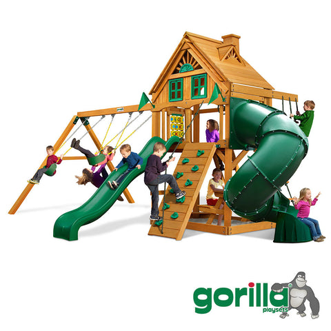 Gorilla Playsets Cedar Swing Set - Mountaineer Treehouse