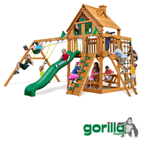 Gorilla Playsets Cedar Swing Set and Playhouse -  Navigator Treehouse