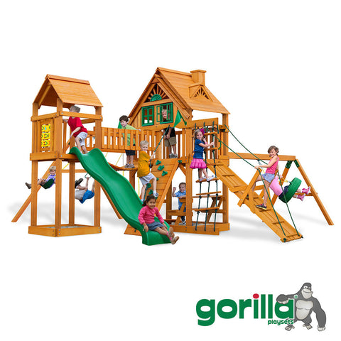 Gorilla Playsets Cedar Swing Set and Playhouse - Pioneer Peak Treehouse