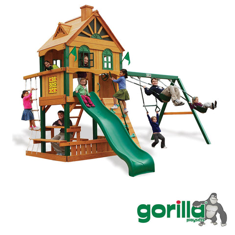 Gorilla	 Playsets Cedar Swing Set and Clubhouse- Riverview