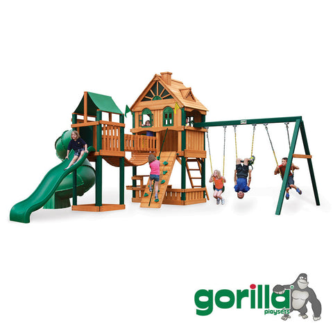 Gorilla Playsets Cedar Swing Set and Playhouse - Woodbridge