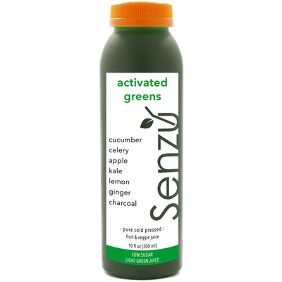 activated greens cold pressed juice: cucumber, celery, kale, apple, lemon, ginger, activated charcoal