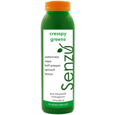 cresspy greens cold pressed juice: watercress, napa, bell pepper, spinach, lemon