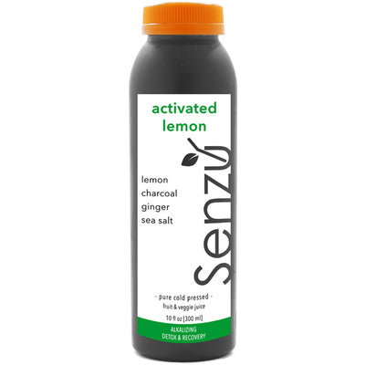 activated lemon cold pressed juice: lemon, ginger, sea salt, activated charcoal