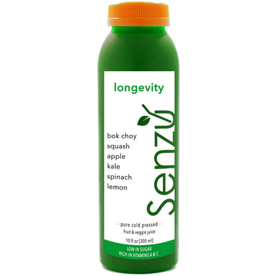 longevity cold pressed juice: bok choy, squash, apple, kale, spinach, lemon