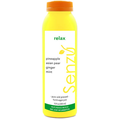 relax cold pressed juice: pineapple, asian pear, ginger, mint