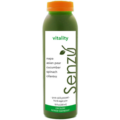 vitality cold pressed juice: napa cabbage, asian pear, cucumber, spinach, cilantro
