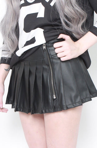 Vinyl Pleated Skirt