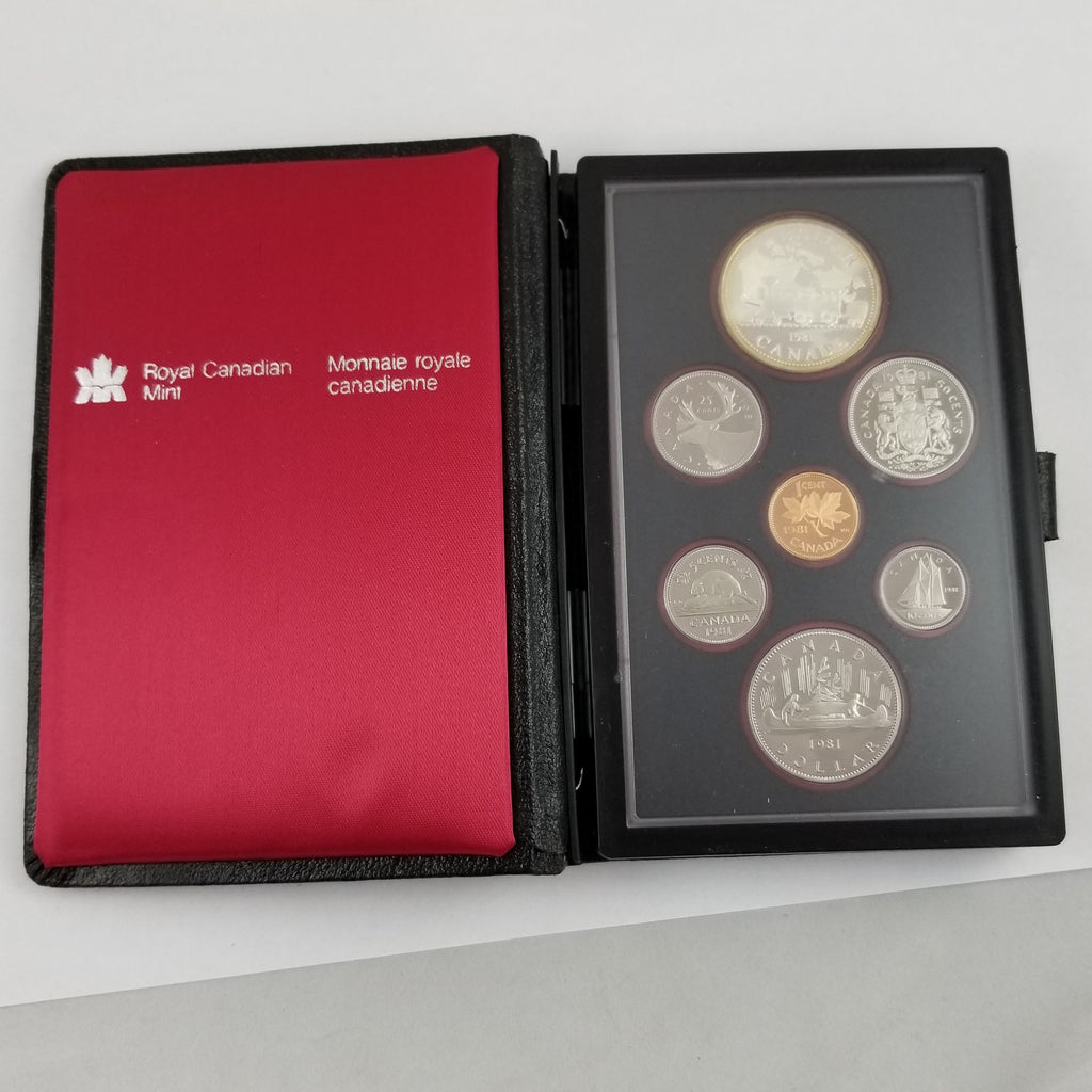 1981 Royal Canadian Mint 7 Coin Proof Set Locomotive Dollar 50% SILVER