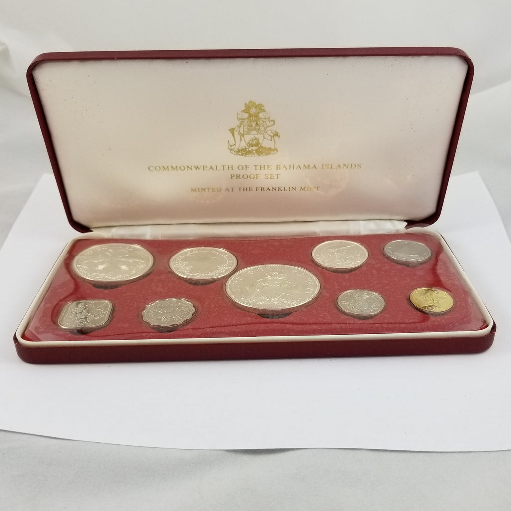 1973 Commonwealth of the Bahamas 9 Coin Proof Set Box Sleeve COA