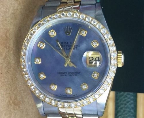 ROLEX LADIES MENS 36mm DATEJUST DIAMOND BEZEL BLUE MOTHER Of PEARL DIAL 2tone