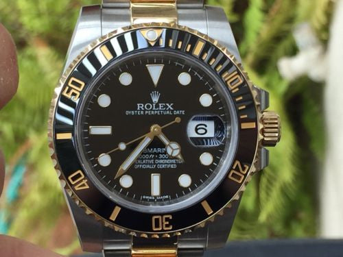 ROLEX SUBMARINER BLACK CERAMIC STAINLESS STEEL 18k YELLOW GOLD 2 Tone 116613
