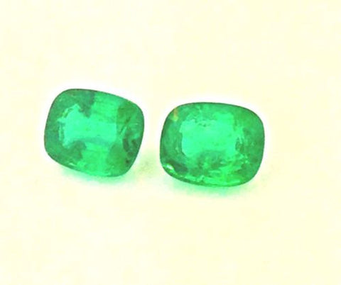 6.92cttw - Two Natural African Cushion Cut Emeralds- Matching Pair