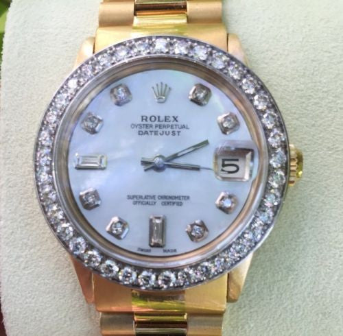 ROLEX PRESIDENT 18k YELLOW  GOLD BAND MIDSIZE 31mm WHITEGOLD DIAMOND BEZEL 68278