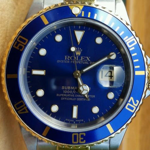 ROLEX SUBMARINER TWO TONE GOLD STAINLESS STEEL BLUE ON BLUE DIVER WATCH 16613