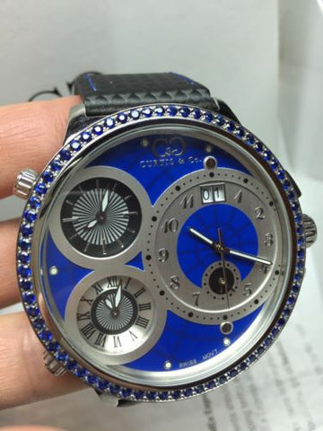 CURTIS & CO. MENS BIG TIME WORLD FOUR TIME ZONE WATCH BLUE SAPPHIRE BEZEL STEEL