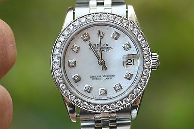 ROLEX MIDSIZE STEEL 78240 DIAMOND MOP DIAL & BEZEL 31mm LATE MODEL BAND