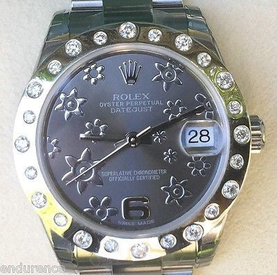 ROLEX MIDSIZE DATEJUST STEEL FLORAL DIAL CUSTOM SCATTERED DIAMOND BEZEL 178240