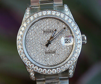 Rolex 178240 Datejust 31mm Midsize Stainless Steel Diamond Pave Dial Lugs Bezel