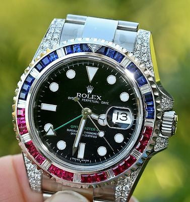ROLEX MENS STEEL GMT II DIAMOND RUBY 116710 w/ BEZEL for 18K WHITE GOLD 116759
